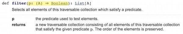 The filter method of Scala's List class.